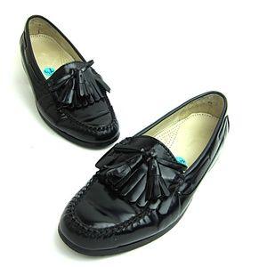 Cole Hann Black Leather Kiltie Tassel Loafers